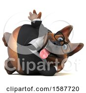 Clipart Of A 3d Business German Shepherd Dog Resting On His Side On A White Background Royalty Free Illustration