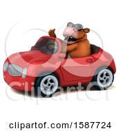 Clipart Of A 3d Brown Cow Driving A Convertible On A White Background Royalty Free Illustration