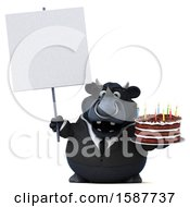 Clipart Of A 3d Black Business Bull Holding A Birthday Cake On A White Background Royalty Free Illustration by Julos