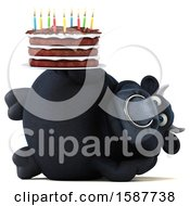 Clipart Of A 3d Black Bull Holding A Birthday Cake On A White Background Royalty Free Illustration by Julos
