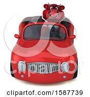Clipart Of A 3d Red Business Bull Driving A Convertible On A White Background Royalty Free Illustration