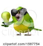 3d Green Bird Holding A Light Bulb On A White Background