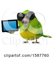 Clipart Of A 3d Green Bird Holding A Tablet Computer On A White Background Royalty Free Illustration by Julos