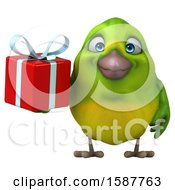 Clipart Of A 3d Green Bird Holding A Gift On A White Background Royalty Free Illustration by Julos