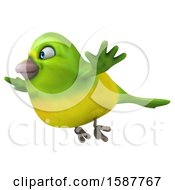 Clipart Of A 3d Green Bird Flying On A White Background Royalty Free Illustration by Julos