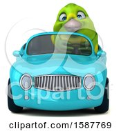Clipart Of A 3d Green Bird Driving A Convertible On A White Background Royalty Free Illustration by Julos