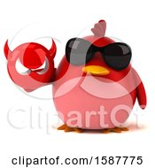 Clipart Of A 3d Red Bird Holding A Devil On A White Background Royalty Free Illustration