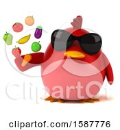 Clipart Of A 3d Red Bird Holding Produce On A White Background Royalty Free Illustration