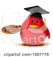 Clipart Of A 3d Red Bird Graduate Holding A Pizza On A White Background Royalty Free Illustration