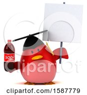 Clipart Of A 3d Red Bird Graduate Holding A Soda On A White Background Royalty Free Illustration