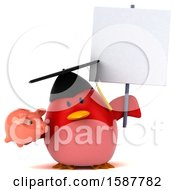 Clipart Of A 3d Red Bird Graduate Holding A Piggy Bank On A White Background Royalty Free Illustration