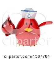 Clipart Of A 3d Chubby Red Bird Sailor Holding A Blood Drop On A White Background Royalty Free Illustration