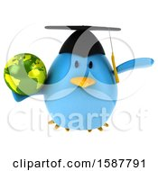 Clipart Of A 3d Chubby Blue Bird Graduate Holding A Globe On A White Background Royalty Free Illustration