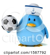 Clipart Of A 3d Chubby Blue Bird Sailor Holding A Soccer Ball On A White Background Royalty Free Illustration