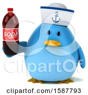 Clipart Of A 3d Chubby Blue Bird Sailor Holding A Soda On A White Background Royalty Free Illustration