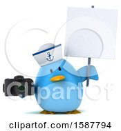 Clipart Of A 3d Chubby Blue Bird Sailor Holding A Camera On A White Background Royalty Free Illustration