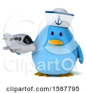 Clipart Of A 3d Chubby Blue Bird Sailor Holding A Plane On A White Background Royalty Free Illustration
