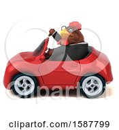 Poster, Art Print Of 3d Brown Business Chicken Driving A Convertible On A White Background