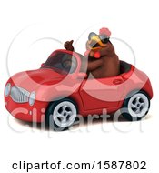 Poster, Art Print Of 3d Brown Chicken Driving A Convertible On A White Background