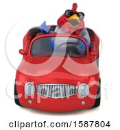 Clipart Of A 3d Chubby French Chicken Driving A Convertible On A White Background Royalty Free Illustration