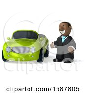 3d Short Black Business Man By A Convertible Car On A White Background