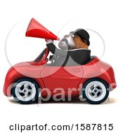 Clipart Of A 3d Gentleman Or Business Bulldog Driving A Convertible On A White Background Royalty Free Illustration by Julos