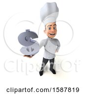 Clipart Of A 3d Young White Male Chef Holding A Dollar Sign On A White Background Royalty Free Illustration