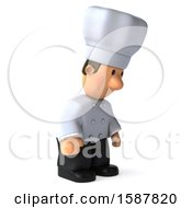 Clipart Of A 3d Short White Male Chef On A White Background Royalty Free Illustration