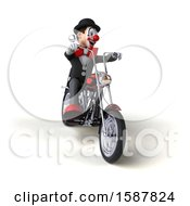 Clipart Of A 3d White And Black Clown Biker Riding A Chopper Motorcycle On A White Background Royalty Free Illustration