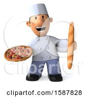 Clipart Of A 3d Short White Male Chef Holding A Pizza And Bread On A White Background Royalty Free Illustration