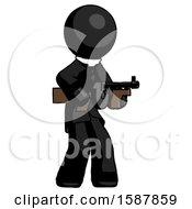 Black Clergy Man Tommy Gun Gangster Shooting Pose