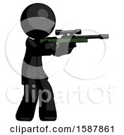 Black Clergy Man Shooting Sniper Rifle