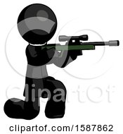 Black Clergy Man Kneeling Shooting Sniper Rifle