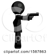 Black Clergy Man Firing A Handgun