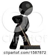 Black Clergy Man Cleaning Services Janitor Sweeping Floor With Push Broom