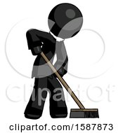 Black Clergy Man Cleaning Services Janitor Sweeping Side View