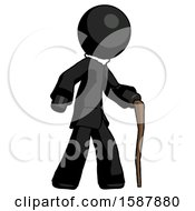 Black Clergy Man Walking With Hiking Stick