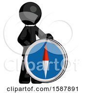 Black Clergy Man Standing Beside Large Compass