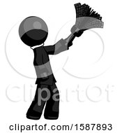 Black Clergy Man Dusting With Feather Duster Upwards