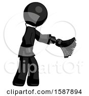 Black Clergy Man Dusting With Feather Duster Downwards