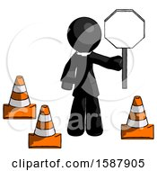 Black Clergy Man Holding Stop Sign By Traffic Cones Under Construction Concept