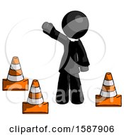 Black Clergy Man Standing By Traffic Cones Waving