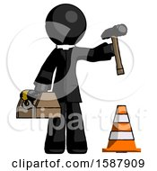 Black Clergy Man Under Construction Concept Traffic Cone And Tools