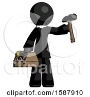 Black Clergy Man Holding Tools And Toolchest Ready To Work