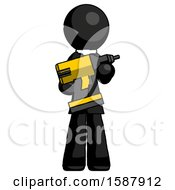 Black Clergy Man Holding Large Drill