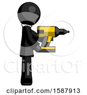 Black Clergy Man Using Drill Drilling Something On Right Side