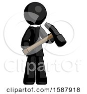 Black Clergy Man Holding Hammer Ready To Work