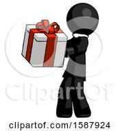 Black Clergy Man Presenting A Present With Large Red Bow On It