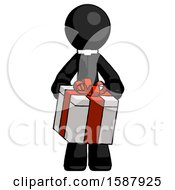 Black Clergy Man Gifting Present With Large Bow Front View