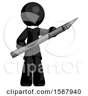 Black Clergy Man Holding Large Scalpel